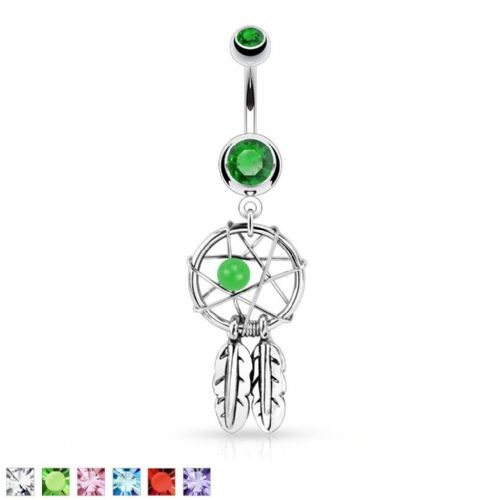 Dream Catcher Belly Bar with Bead and Feather Dangle